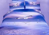 New Hot Beautiful 4PC 100% Cotton Comforter Duvet DOoona Cover Sets FULL / QUEEN / KING bedding set 4pc animal seagulls blue