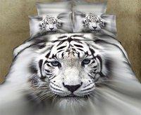 New Hot Beautiful 4PC 100% Cotton Comforter Duvet DOoona Cover Sets FULL / QUEEN / KING bedding set 4pcs animal tiger white