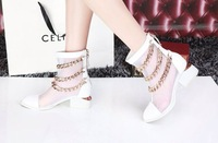 2014 Sexy Punk Style Women Pumps Summer Sandals Boots genuine leather brand Chains Gladiator Sandals Lady shoes freeshipping KL1