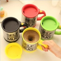 20 Pcs/ Wholesale Free shippping Automatic coffee mixing cup/mug bluw stainless steel self stirring electic coffee mug 350ml