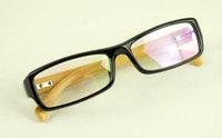 Discount Accessories wholesale Small box bamboo mirror plain mirror male Women black-rimmed glasses a6811  10pcs/lot