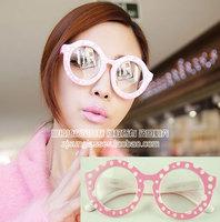 Discount Accessories wholesale Plain mirror color dot sculpture multi-colored glasses 2050  10pcs/lot