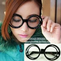 Discount Accessories wholesale Round box plain mirror multi-colored glasses color 2053  10pcs/lot