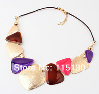 Statement Big Triangle Pendant Necklace For Women Gold Crystal Triangle Collar Necklace Vintage Jewelry 2014 Wholesale