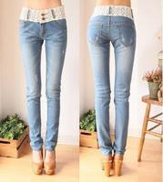 2014 Hot Sale Women's Jeans Trousers Slim Pencil Pants Cotton Lace Bleached Skinny Jeans Ladies Denim Jeans Plus Size