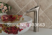 New Waterfall Single Handle Brushed Nickel Basin Sink Bathroom Deck Mounted Single Hole Ceramic Faucet  Mixer Tap MF-750