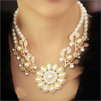 Free Shipping!2014 Fashion Pearl Flowers Set With Drill Collar Necklaces & Pendants Jewelery Statement Necklace For Women N4027