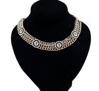 Min. Mix Order $15 Free Shipping  2014 New  Gold Lion Head Choker Necklace Statement Multilayer Chain Necklace for Women