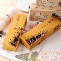 Creative tether wooden pen boxes pencil box pen box pencil case storage box 20.5*6*4.3cm Free shipping
