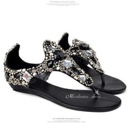2014 summer beaded rhinestone flip-flop sandals bohemia flat bottom flat heel sandals all-match sandals