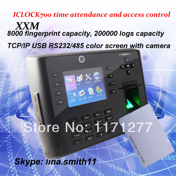 Tcp/ip USB fingerprint access control with time attendance function iclock700 built in FRID reader(China (Mainland))