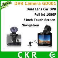 "Hot sale3 IN 1 Dual Lens car dvr Camera GD001 Allwinner 5.0""Touch Screen  Full hd 1920x1080 30FPS GPS Navigation+Tablet PAD"