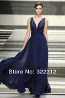 2014 Elie Saab Blue Chiffon V-neckline Flowers Elegant Floor Length Evening Dresses Gowns for Special Occasion