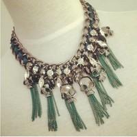 New arrival fashion fashion punk skull rhinestone tassel coarse necklace