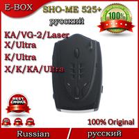 Free Shipping Russian Language SHO-ME 525+ Car Radar Detectors X/K/KA/Ultra-X/Ultra-K/Ultra-KA/VG-2/Laser 360 Degrees