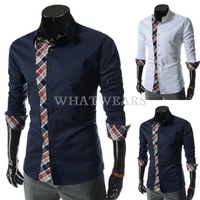 Free Shipping Mens Plaid Patched Shirt Casual Pointed Collar Navy Blue/White [07-2335] 766 275