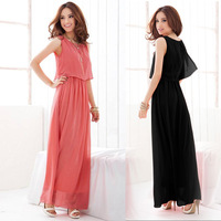2014 New Arrival summer beach long dresses Fashion bohemia beach  dress fairy sleeveless chiffon plus size full dress