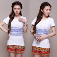 2014 summer national trend women's knitted print short-sleeve t-shirt female short-sleeve cotton slim top WFS338