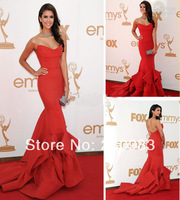 Sexy Red Nina Dobrev Mermaid Long Celebrity Dresses 2014 Strapless Sleeveless Evening Gowns Sweep Train Free Shipping