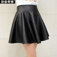 2014 leather skirt female spring and autumn short skirt bust skirt basic high waist pleated leather PU small skirt