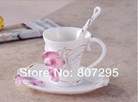 Free shipping morning glory design coffee mug and saucer with spoon multi colors