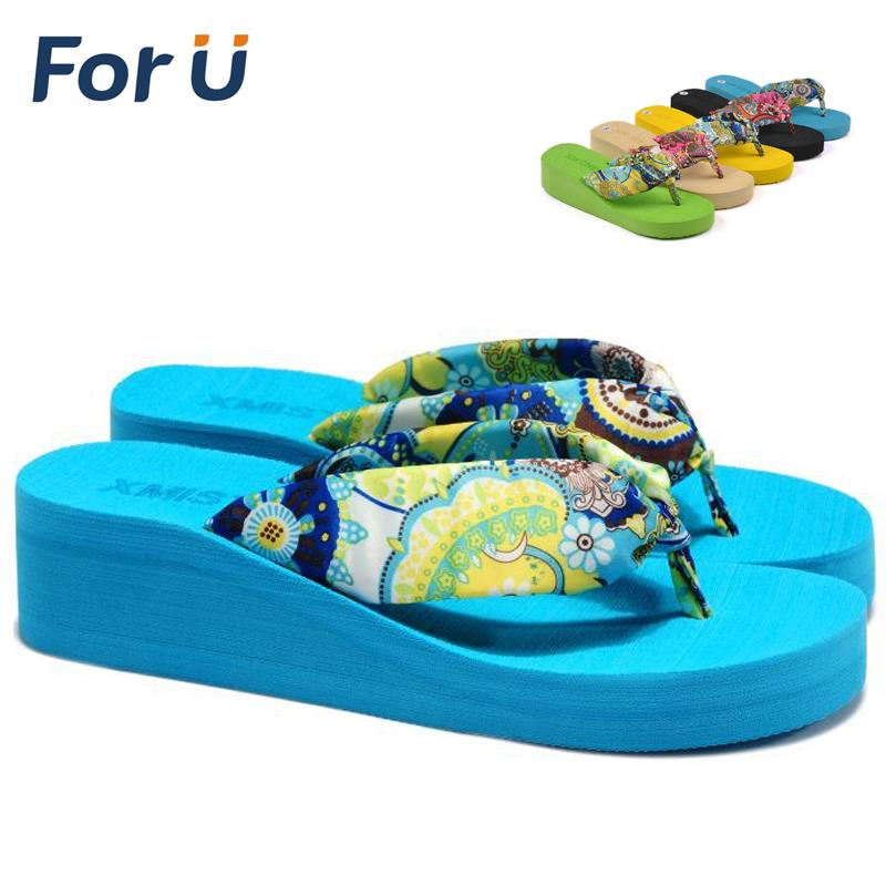 2014 Summer bohemia flower flip flops platform wedges women sandals platform flip slippers beach shoes(China (Mainland))