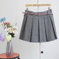 2013 autumn and winter woolen houndstooth dot pleated bust skirt pants short skirt pleated skirt