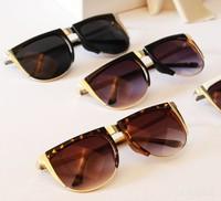 Korean version of the retro trend of large metal boxes unisex sunglasses new sunglasses 1235