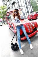 Factory Direct Sales 2014 New Fashion Spring Summer Korean Mid Waist Skinny Pencil Pants Women Slim Causal Denim Jeans