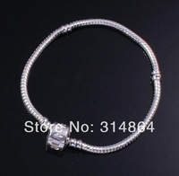 Lot 5PC 3mm 8 3/5 inches White K Gold Plated Snake Chain Bracelet fit European Charm Big Hole Beads Findings Jewelry Wholesale