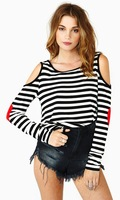 one piece t-shirt Love patchwork tshirt stripe strapless t shirts at the end of Lady's long sleeve t-shirt