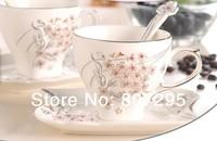 Free shipping sakura coffee mug and saucer with crystal diamond lovers mug wedding gift