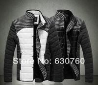 Free shipping 2013 Men's casual jacket winter plus velvet thick warm coat Korean Slim Men's Fashions 6 size L -- 5XL