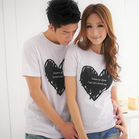 2014 summer male t-shirt lovers short-sleeve love print o-neck t-shirt 216 dt05 p14