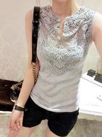 2014Wholesale Women's summer 2013 sleeveless cotton shirt lace shirt patchwork basic shirt slim crochet Free shipping