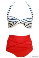 2014 new brand women's bikini retro waist belly bikini swimwear factory direct free shipping DST-0451
