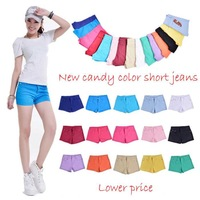 Free shipping! 2014 spring summer high quality fashion denim shorts women's candy color short jeans pants casual cotton 16 color