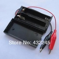 Free shipping.10sets/lot.3V test battery box, 3V power supply box with switch,3V battery box with alligator clip.test   cable.