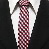 Man Plaid Classic Narrow Grid Neck Tie For Mens Crimson Red With Black Picnic Check Necktie Gravata 5CM F5-C-15
