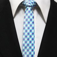 Man Plaid Classic Narrow Grid Powderblue Neck Tie For Mens Azure Sky Blue With Lilac Picnic Check Neckties Gravata 5CM F5-C-16