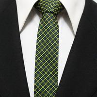 Man Plaid Classic Narrow Grid Neck Tie For Mens Geometric Navy Green With Yellow Picnic Check Neckties Gravatas 5CM F5-C-17