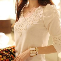 2014 brand autumn spring new women's casual and fashion shirt lace tops cute elegant long sleeves blouses free shipping