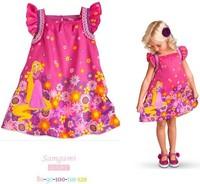 2014 new girls dress children baby girl summer cartoon sleeveless dress kid's floral princess dress free shipping