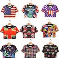 Fashion 2014 New Harajuku Zipper Marijuana Green Leaves USA Flag Print Crop Tops Cropped T-shirts For Women Floral Short Tees
