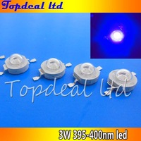 free shipping 10pcs 1W 3W UV Ultra Violet Hihg power LED 3Watt LED 395nm -400nm led bead chip
