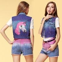 2014 Big Brand Fashion Frayed Gradient Color Beading Unicorn Pattern Print  Denim Vest, Jeans Waistcoats Women's Clothing Blue
