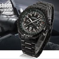 Military Stainless Steel Date Black Dial Quartz Clock Luxury Mens Sport Watch