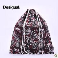 Desigual vintage shopping bag underwear clothes storage bag travel bag trend of the women's print handbag