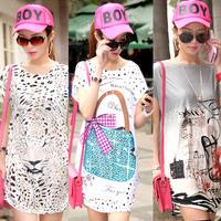 Hot sale Summer 2014 Fashion Casual Women Ice silk Pullover Dress Floral Printed Pattern Plus Size Loose Femininas Vestidos