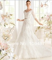 Wedding dress new 2014 European and American vintage lace sleeve V-word strap long tail wedding dress bridal diamond